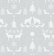 ARCTIC ANIMALS ON SILVER BY LEWIS & IRENE - COTTON FABRIC FQ'S