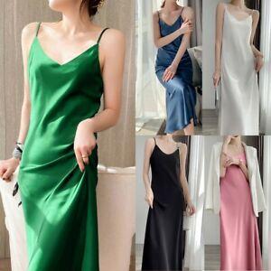 Women's Strappy Satin Silk Slip Dress V-Neck Party Evening Cocktail Dresses US