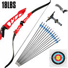 Takedown Recurve Bow Set 18LBS Red Archery Bow Arrow Adults Youth Shoot Practice