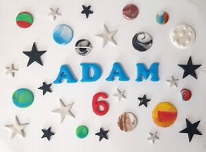 Space, planets, handmade Birthday loose cake decorations, Personalised name, age