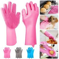 2 Pcs Silicone Dishwashing Gloves Reusable Scrubber Kitchen Bathroom Wash Pet
