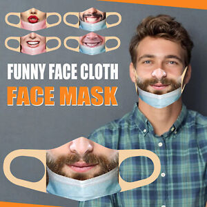 PM2.5 Mask(less) Bandit Prank Funny Face Mask Washable Mouth Cover for Men/Women