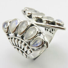FREE SHIPPING RAINBOW MOONSTONE 10 Stone Ring Sz 7.25 Sterling Silver New Stone