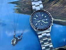 SEIKO FLIGHTMASTER MEN'S BLACK DIAL CHRONOGRAPH - PILOT WATCH 7T92-0CF-MINT