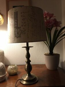 Table Lamp Brass Colour, Cream Shade With  Grey Writing On Bayonet Fitting