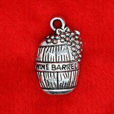 6 x Tibetan Silver Wine Barrel with Grape Finding Beading Jewellery Making