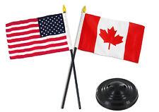 "Canada Canadian w/ USA American Flag 4""x6"" Desk Set Table Stick Black Base"
