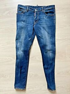 IT 56 97cm UK 38 Neu Dsquared Herren Blau Jeans Gr