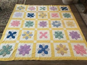 """87 x 89"""" Antique pinewheel handmade quilt twin vintage yellow AS IS flower"""