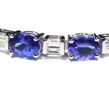 14.44CT 14K Gold Natural Tanzanite Diamond Vintage D Block Halo Tennis Bracelet