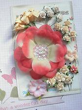 DEEP CARMINE, IVORY & CREAM 22 Roses & Lillies 15-95mm 5Styles PAPER & SILK VE2