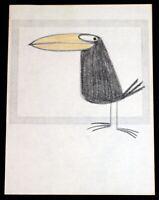 T HEE Long Beak Tropical Black Bird Ruff Sketch Walt Disney Story Illustrator