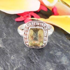 10x8 MM Lemon Quartz Stone Ring 925 Silver Handmade Rings Sterling Women Jewelry
