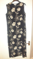 Windsmoor 100% Pure Silk, Navy & Cream Floral Maxi Dress Fully lined Size UK 10
