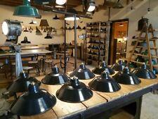 ANCIEN LAMPE SUSPENSION ABAT JOUR DESIGN INDUSTRIEL MÉTAL ÉMAILLÉ ATELIER USINE