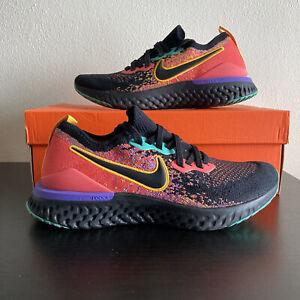Nike Epic React Flyknit 2 Women Size 9 Running Shoes Black Ember Glow CK0818-001