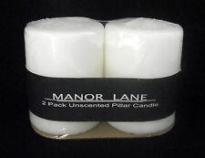 "Pillar Candle White 3"" 2 Wedding Decor Unscented Pair Manor Lane New Sealed Wick"