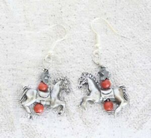 """Judy Strobel Fabulous Pewter Horse Jasper & Hematite Star Earrings 1 1/4"""""""