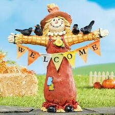 """""""WELCOME"""" Harvest Scarecrow with Crows Perched Outdoor Garden Statue"""