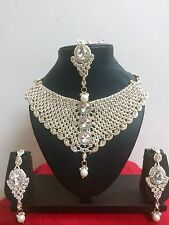 Indian Bollywood Style Fashion Rose Gold Plated Ethnic Jewelry Necklace Set