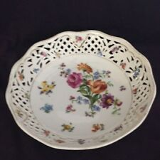"""Antique and Collectible Schumann Dresden Pieced Bowl with Blue Mark- 9"""" Diameter"""