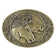 Horse Heads Belt Buckle OBM109 IMC-Retail