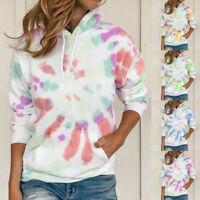 Women Long Sleeve Hooded Hoodie Tie Dye Pullover Sweatshirt Loose Casual Tops UK