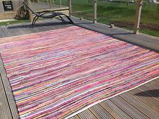 ❤️Plain Bright Multi Colour Rag Rug 250cm x 250cm Large Square Flat Weave Chindi