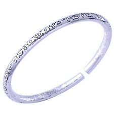 Womens White Gold Filled Tibet Carved Pattern Cuff Bangle Bracelet Adjustable