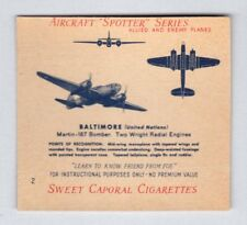 1941 Sweet Caporal WW2 Aircraft Spotter Series #2 Baltimore Bomber NM no creases