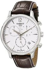 Tissot Men's Tradition Chron Brown Leather Band Silver Dial Watch T0636171603700