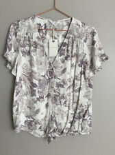 Womens Lucky Brand Knit Print Tie Front Tee Top Small