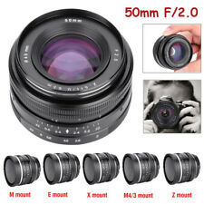 50mm F/2.0 Manual Focus Prime Lens APS-C for M4/3/Sony-E Mount Mirrorless Camera
