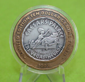 CAESARS PALACE 1966 WINGED VICTORY .999 FINE SILVER $10 TEN DOLLAR GAMING TOKEN