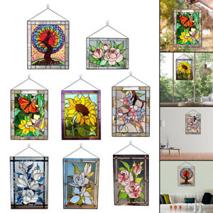 Stained Glass Window Panel Suncatcher Handcrafted Home Decor with Chain
