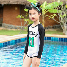 Long Sleeve One Piece Swimsuit For Kids - White (SPG011771)
