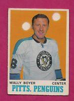 1970-71 OPC  # 203 PENGUINS WALLY BOYER EX+ CARD (INV# 9601)