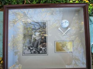 Jack Nicklaus Signed Golf Ball Framed with Photo & Brass Plaque & cross tees