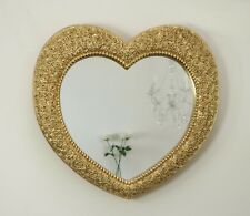 "Rose Heart Gold Shabby Chic Shaped Wall Mirror 33"" x 28"" 82cm x 70cm"