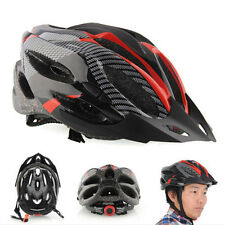 Cycling Bicycle Adult Mens Bike Helmet Red carbon color With Visor MountainATUJ