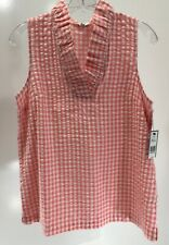 Crown & Ivy Womens Sleeveless Checkered V Neck Blouse Color Coral Medium NWT #