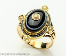Antique Natural Banded Agate Seed Pearl 14K Rose Yellow Gold Enamel Sz. 8.5
