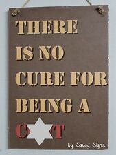 There is no cure for being a c**t - Naughty Bar Shed Wooden Man Cave Sign