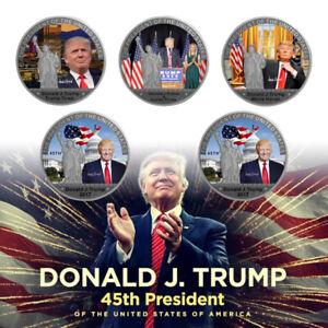 US President Donald Trump Silver Foil Coins Gift Set Collection 5pcs
