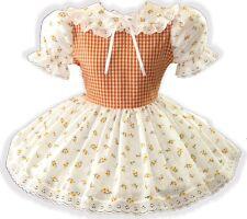 "44"" Orange Gingham Eyelet Adult Little Girl Baby Sissy Boy Dress LEANNE"