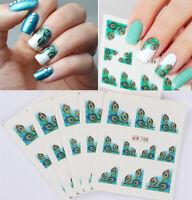 5 Blatt Nagel Kunst Wasser Übertragen Tattoo Decals Sticker Feder Muster