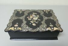 19th C. PAPIER MACHE LAP DESK, LACQUER & MOTHER-OF-PEARL CASE, c.1860-80