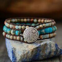 Women Bohemian Stone Weave Bracelet Handmade Leather WraP Jewelry Party GiftS
