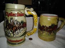 Lot (2) 1980 & 1983 BUDWEISER Champion Clydesdales Beer Stein Mugs Ceramarte