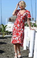 Lightweight Flowing Viscose A Line Red Floral Print Summer Dress size 12
